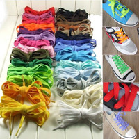 Wholesale 50Pairs Flat Shoelace Sports Canvas Sneaker Shoe Laces Boot Trainer Skate Laces Many Colours New Shoelaces HZTJ0003