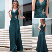 Wholesale DorisQueen new arrival V neck heavy silk stretch satin formal dresses evening