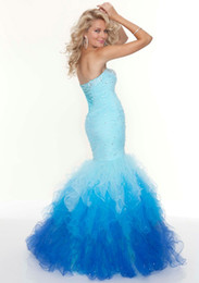 Wholesale Sexy Blue Mermaid Trumpet Sweetheart Sleeveless Lace Up Back Organza Floor Length Prom Dresses