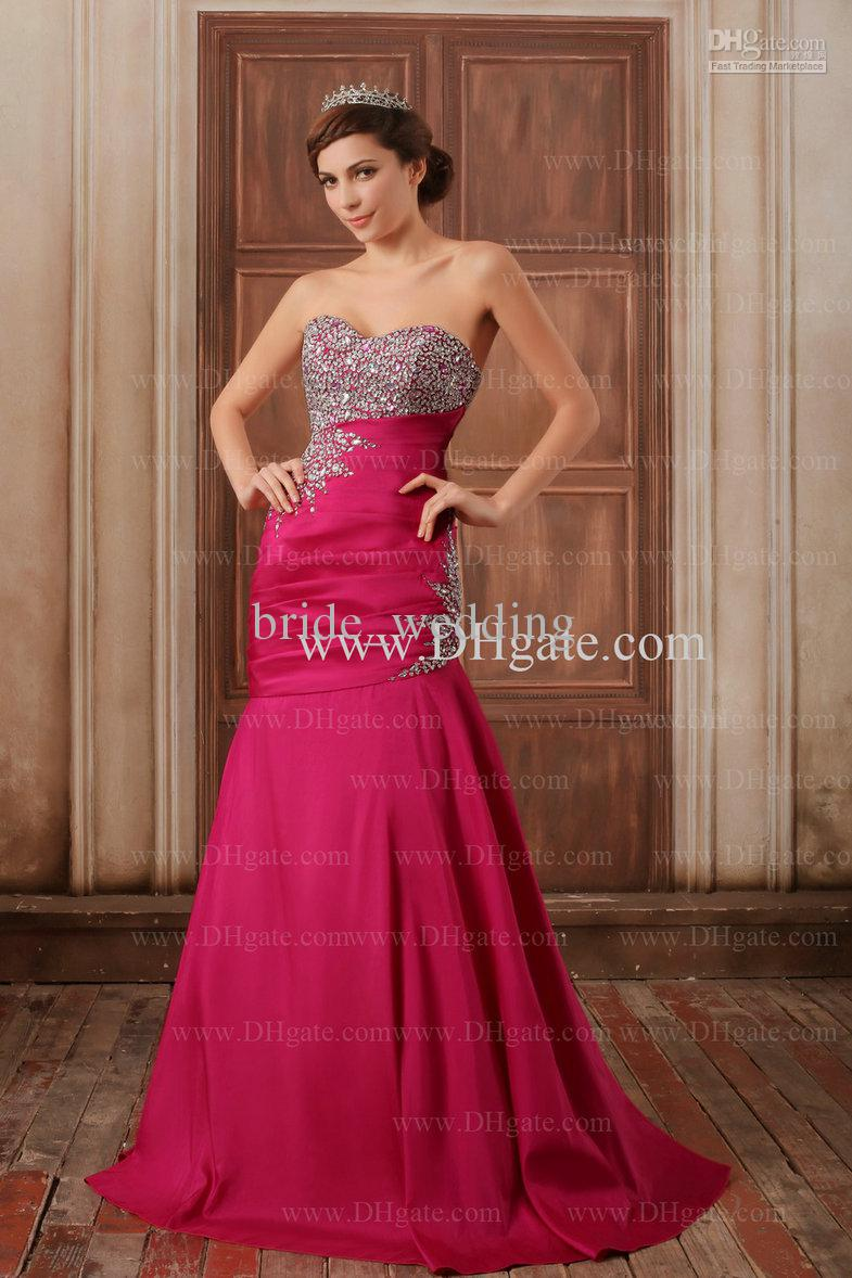 Evening Dresses Hot Pink Voile Beaded 28