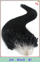 Wholesale Micro Ring Loop Hair Extension The Brazilian Virgin Remy Natural Human Hair quot quot Jet Black g strand S
