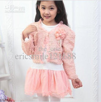 Girl Spring / Autumn 100% Cotton Wholesale - 2013 New spring&autumn Baby clothes set Girls Tutu Skirt Long Sleeve Kids Lace Chiffon Dress +Pink Cardigan Flower 2pcs suits 10