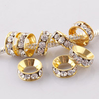 Wholesale Clear Rhinestone Crystal Gold Plated Metal Spacer Large Hole Charms Beads For European Bracelet x4mm