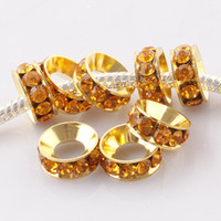 Wholesale Golden Rhinestone Crystal Gold Plated Metal Spacer Large Hole Charms Beads For European Bracelet x4mm