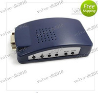 Wholesale LLFA2317 PC MAC VGA to TV AV Composite RCA S Video Converter Box Dark Blue C0027DB