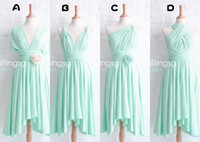 Wholesale New Real Image Aqua Ruffles Sash Flowers Ankle Length Chiffon Sexy Bridesmaid Dresses Diferent Styles Cheap Customed Hot Sale
