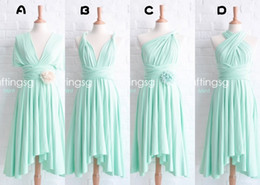 Wholesale 2015 New Real Image Bridesmaid Dresses Aqua Ruffles Sash Flowers Ankle Length Chiffon Sexy Styles Cheap Mint Green Maid of honor Gowns