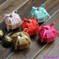 Wholesale New Arrival Octahedral Sphere shape handmade small bell Paper Wedding gifts Box and wedding favor box