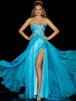 Cheap Reference Images split side Prom dress Best Sweetheart Chiffon evening dress