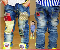 Boy Spring / Autumn Elastic Waist Children's patch Jeans Baby Boy Denim Pants fashion causal Trousers Jeans boys' jeans pants cowboy trousers kids pants wear