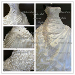 Real Photos 2014 Gorgeous A-line Ruffles Sweetheart Strapless Crystal Wedding Dresses Beautiful stunning Bridal Dresses
