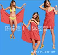 Wholesale dresses Explosion models sling ice silk material mercerized cotton beach wrap skirt beach skirt holiday skirt swimwear