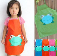 Wholesale 5pcs Cult Frog Printe Kids Childrens Cartoon Cooking Art Painting Smock Apron YB025