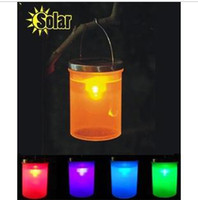 Wholesale Updated version outdoor barrel lantern lights solar lantern lights garden light night light three colors can be chosen