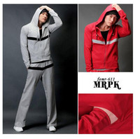 Wholesale Korean Mens Sport Suit Hooded Matching Color Patchwork Stripe Hoodie Jackets Straight Sport Pants Men Tracksuit Sweat Suit