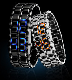 New Arrival Luxury Fashion Novelty LED digital Lava style iron Red Blue light metal LED Watchs Free Shipping