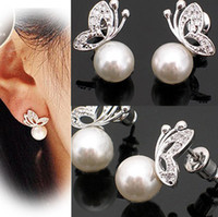 Wholesale Hot Sale Fashion Crystal Butterfly Faux Pearl Women s Ear Stud Earrings Jewellery For Woman CL0113