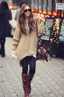 Cheap New Women Hooded Sweater Short Front And After Long Womens Tops Batwing Jumper With Hat Spring Clothings Leisure Knitwear Sweater