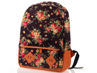 Wholesale 1PC Women Girl Lady Canvas Rucksack Vintage Flower Backpack School Campus Book Bags colors U pick CWYE0407