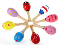 Wholesale 12X NEW Wooden Maraca Wood Rattles Kid Musical Party Favor Child Baby Shaker Toy Beach Randomly send HZC041