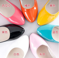 Wholesale Candy colored patent leather flat with shallow mouth single shoes pointed shoes casual shoes work shoes Spring