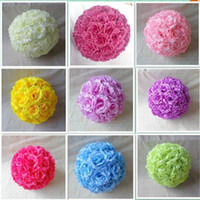 Wholesale CM CM Diameter Silk Kissing Rose Flowers Ball for Wedding Party Decoration U Choose Color