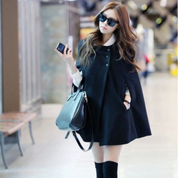 Wholesale A275 women clothing Poncho Korean Woolen cape Coat jacket Shawl cloak winter Single breasted Black Ponchos jackets coats