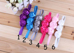 Baby Rose Flower Headbands Girl triple Rose hairbands 6colors Children Hair Accessories infant Hair Bow Headbands 12pcs free shipping