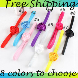 Baby One Rose Flower Headbands Girl Rose hairbands 8colors Children Hair Accessories infant Hair Bow Headbands 20pcs
