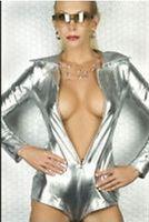 Wholesale NEW metallic red Silver black lycra spandex zentai catsuit