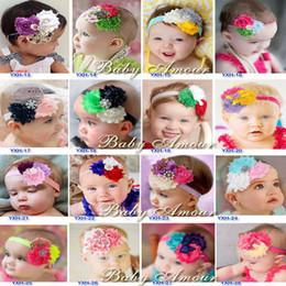 Baby Headbands With Triple Flower Girl Vintage hairbands Children Hair Accessories infant Shabby Flower Hair Bow Headbands 20pcs lot