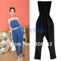 100% Linen Shorts Women 2013 Summer Women's Sexy Strapless Jumpsuit Pants Slim Fit Shirts Playsuit Loose Rompers Black, Blue 16057-Abic