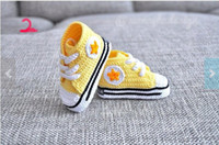 Wholesale Custom made baby sneakers soft sole shoes boy s handmade yarn Crochet shoes cotton crocheted baby shoe in sneaker design pairs