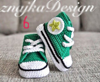 Unisex athletic handmade - Handmade Baby Girls Boys Crochet Sneakers Booties Infant Knitted Sport Shoes Athletic Shoe For Pre Walkers Cotton Assorted Color