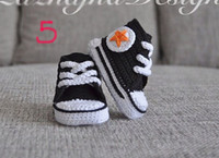 Wholesale baby sneakers soft sole shoes boy s handmade yarn Crochet shoes cotton crocheted baby shoe in sneaker design pairs