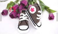 Spring / Autumn athletic handmade - Hot New Handmade Baby Girls Boys Crochet Sneakers Booties Infant Knitted Sport Shoes Athletic Shoe For Pre Walkers Cotton Assorted Color