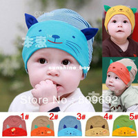 Spring / Autumn beanie baby cats - Lovely Cat Design Baby Hats Infant Cartoon Beanies Kids Baby Striped Animal Hat Caps Baby Beanie MZC