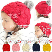 Boy Summer Crochet Hats Stylish Solid Color Baby Girl's Knitted HATS with Cute Balls Fashion Baby Winter Hats Beanies 10pcs Free Shipping MZD-039
