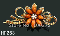 Wholesale hair Jewelry flower crystal rhinestone alloy hair clip hair accessory Mixed colors HP263