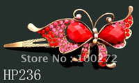 Wholesale hair Jewelry Butterfly crystal rhinestone alloy hair clip hair ornament Mixed colors HP236