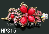 Wholesale Vintage Style Butterfly rhinestone fashion hair clip Hot Sale woman hair accessory HP315