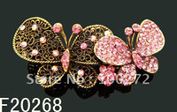 Wholesale fashion hair Jewelry Butterfly crystal rhinestone alloy hair clip hair ornament F20268