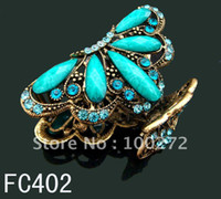 Wholesale Women s Butterfly rhinestone alloy hair claw hair clip hair jewelry Mixed color FC402