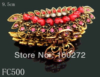 Wholesale vintage Bronze flower fashion rhinestone alloy hair claw hair ornament mix colors FC500