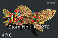 Wholesale vintage hair Jewelry two teeth Butterfly crystal rhinestone fashion alloy hair clip Mixed colors AP03