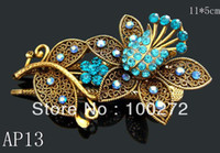 Fashion Hairwear Yes Wholesale vintage hair Jewelry two teeth crystal rhinestone alloy flower hair clip Hair Accessories 12pcs lot Mixed colors AP13