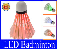 Nylon badminton shuttlecocks nylon - Brand New Dark Night Glow LED Badminton Shuttlecock Birdies Lighting Indoor Sports Flash Colors
