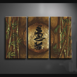 Wholesale Framed Panels Hand Painted High End Wall Decor Drawing Abstract Chinese Art Painting Bamboo Decoration XD01209