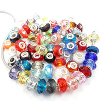Wholesale AAA DIY Big hole beautiful European charm Murano round spacer faceted crystal glass loose beads mix color