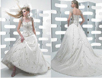 Wholesale Bateau Embroidery Modren Aline Wedding Dresses Capped White Satin Floor Lenght Bridal Dresses Custom Made